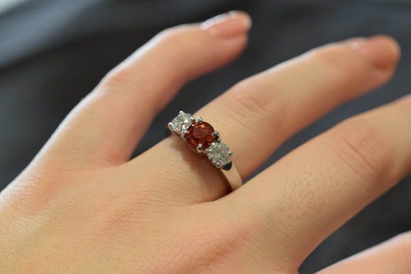 Orange Sapphire and Diamonds #5906