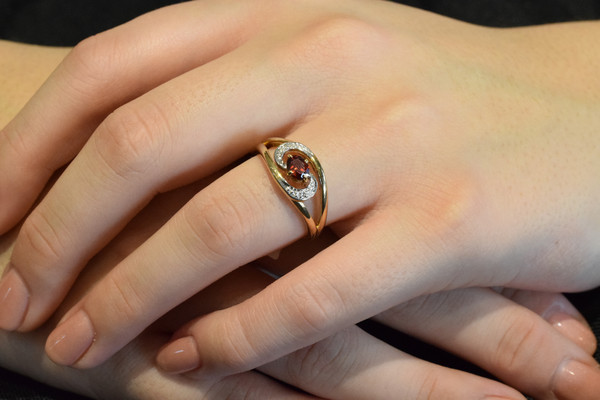 Garnet and Diamond Ring #6390